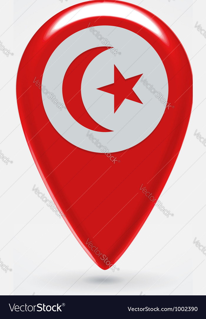 Tunisian icon point for map vector | Price:  Credit (USD $)