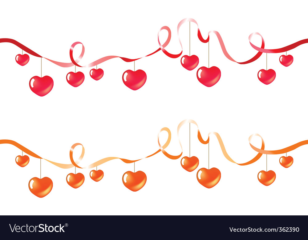 Two ribbons with hearts vector | Price: 1 Credit (USD $1)