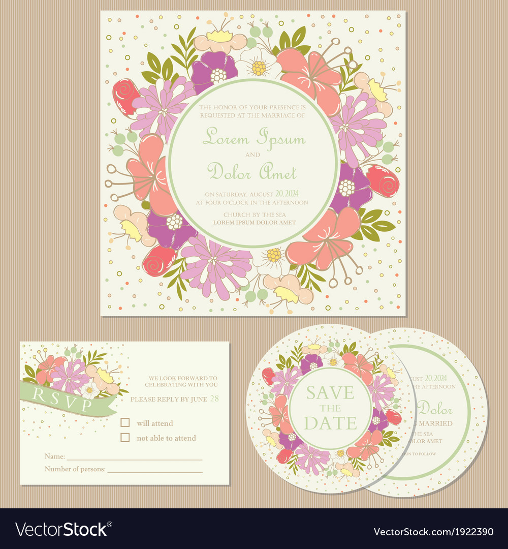 Wedding cards with floral frame vector | Price: 1 Credit (USD $1)