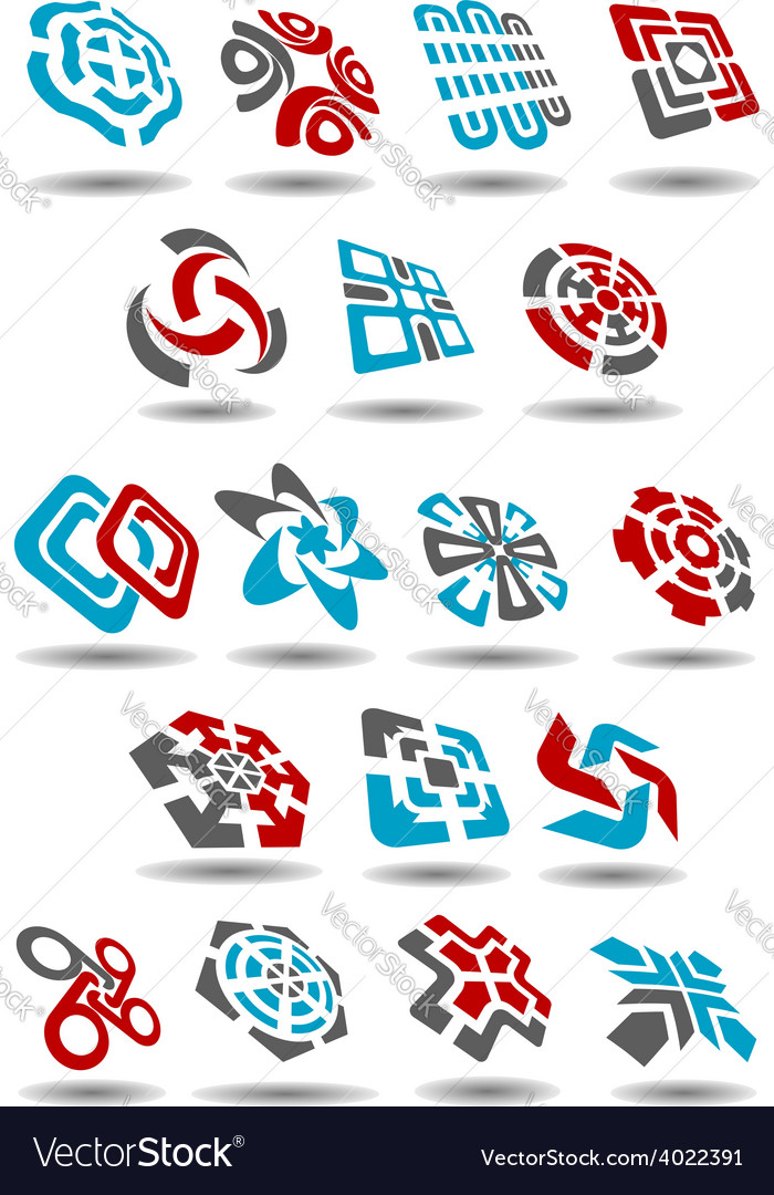 Abstract icons with arrows map pointers mazes vector | Price: 1 Credit (USD $1)