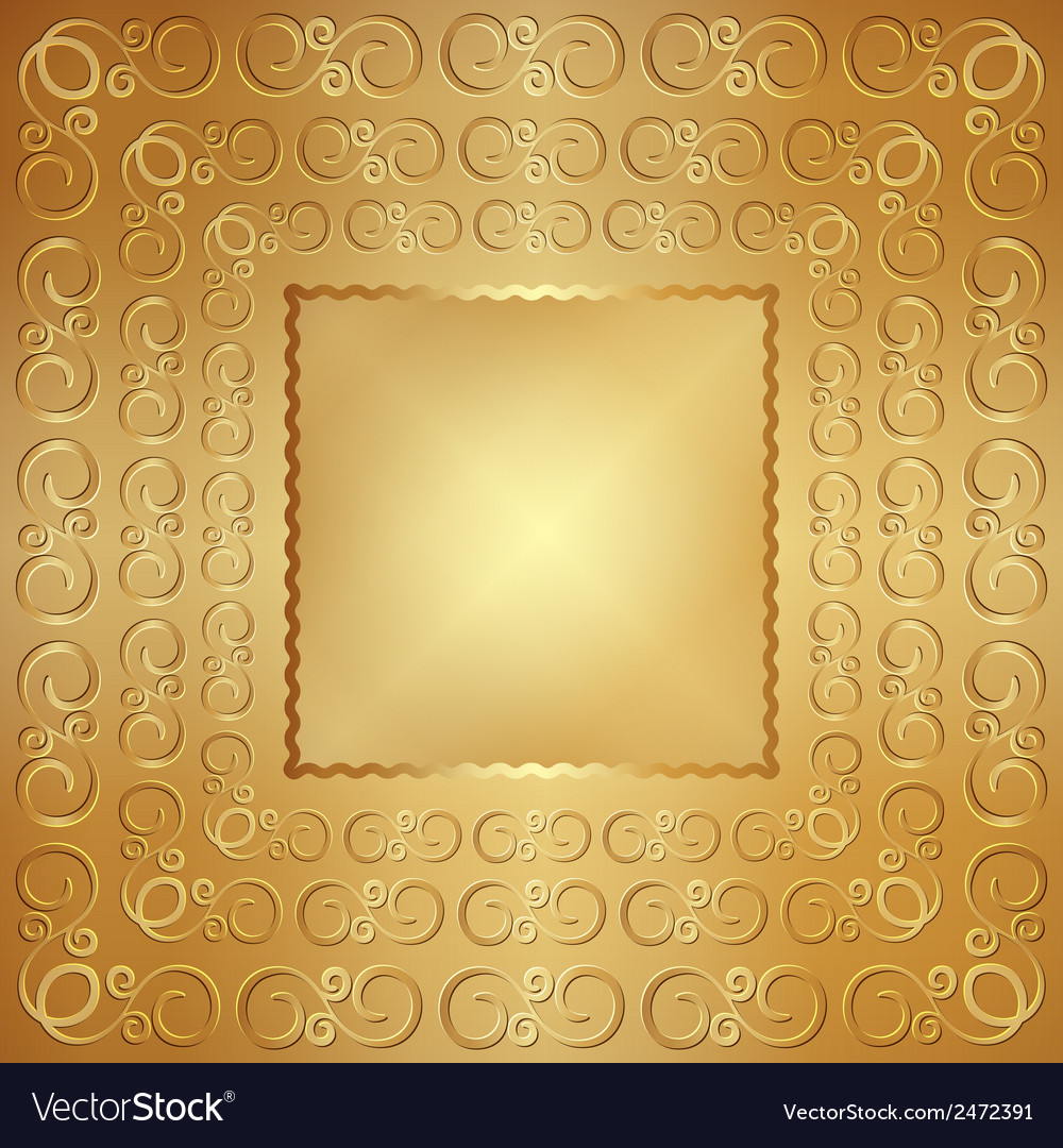 Abstract wide metal gold frame with ornament vector | Price: 1 Credit (USD $1)