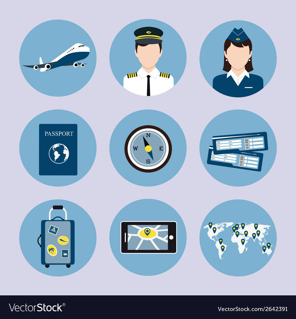 Airline icons set vector | Price: 1 Credit (USD $1)