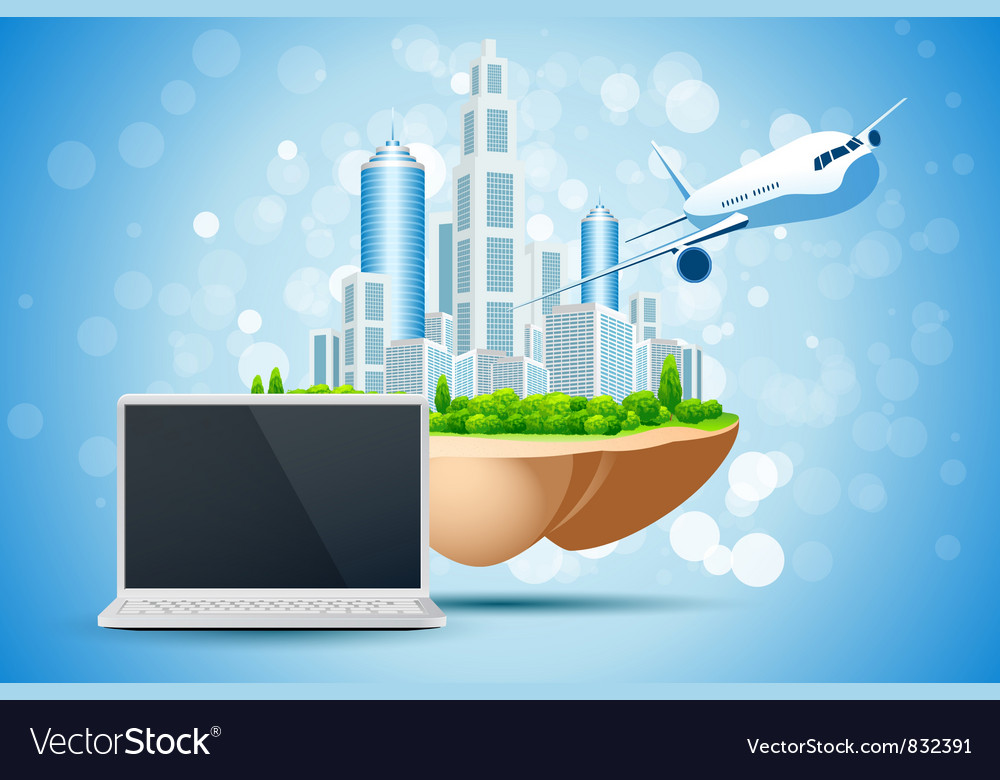 Blue background with business city laptop vector | Price: 3 Credit (USD $3)