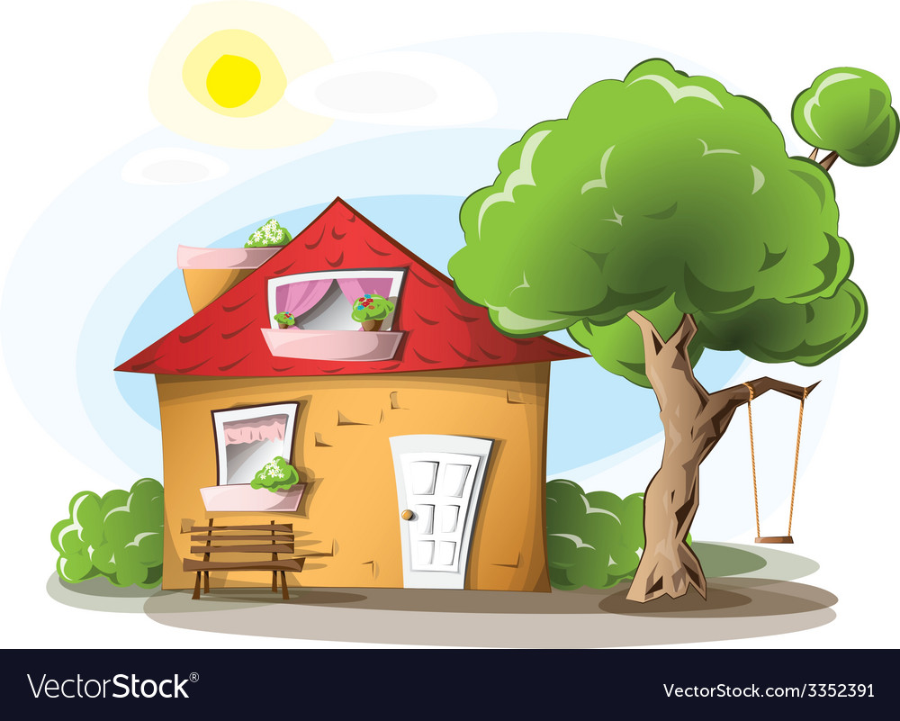 Cartoon house in a warm summer day vector | Price: 3 Credit (USD $3)