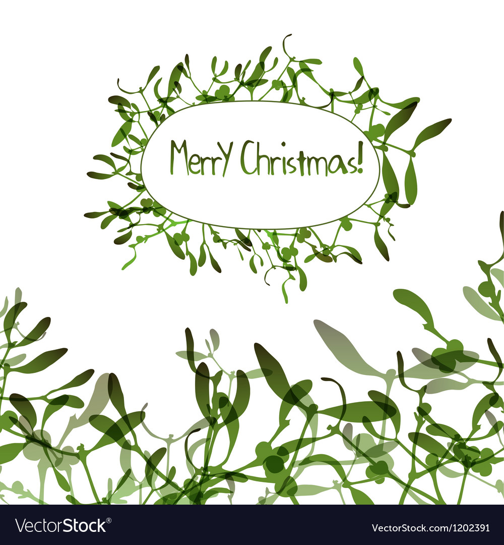 Christmas background with evergreen mistletoe vector | Price: 1 Credit (USD $1)