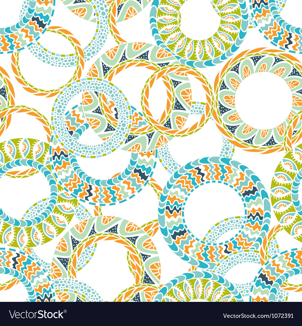 Colorful ethnicity round ornament seamless pattern vector | Price: 1 Credit (USD $1)