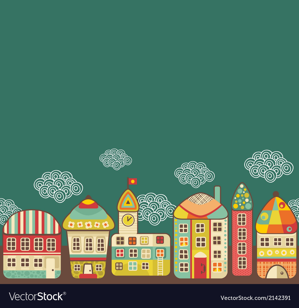 Cute houses seamless pattern vector | Price: 1 Credit (USD $1)