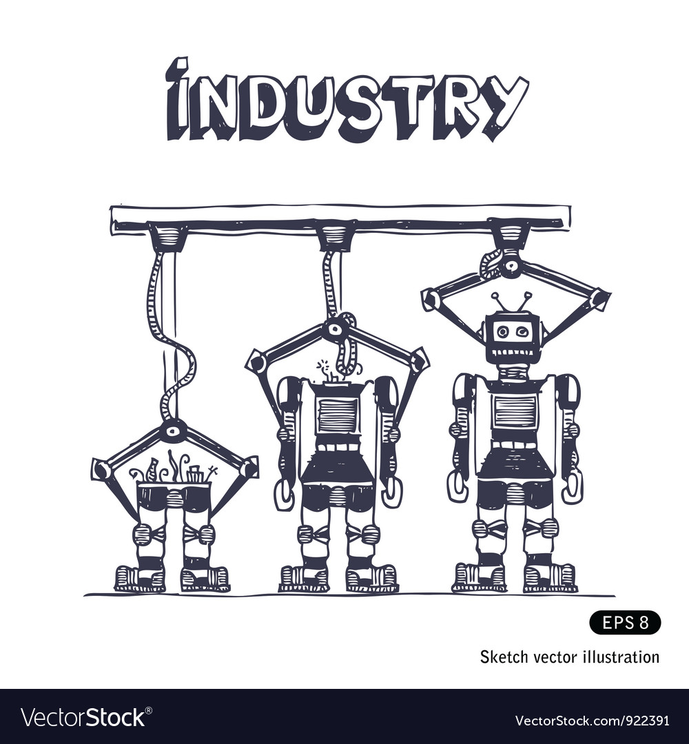 Factory is making robots vector | Price: 1 Credit (USD $1)
