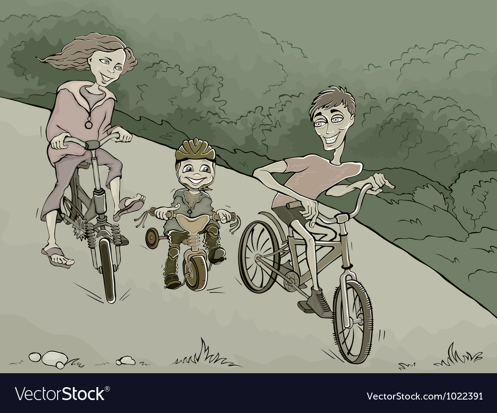 Family on the bikes in the forest vector | Price: 3 Credit (USD $3)