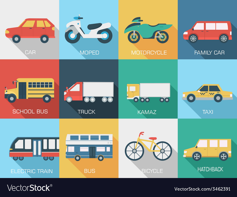 Flat cars concept set icon backgrounds design tamp vector | Price: 1 Credit (USD $1)
