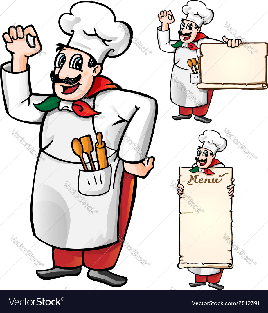 Italian chef set isolated vector | Price: 1 Credit (USD $1)