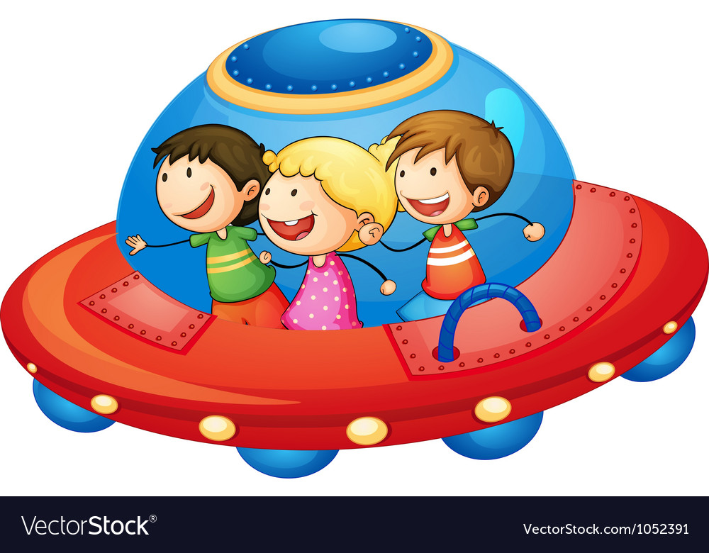 Kids in spaceship vector | Price: 3 Credit (USD $3)