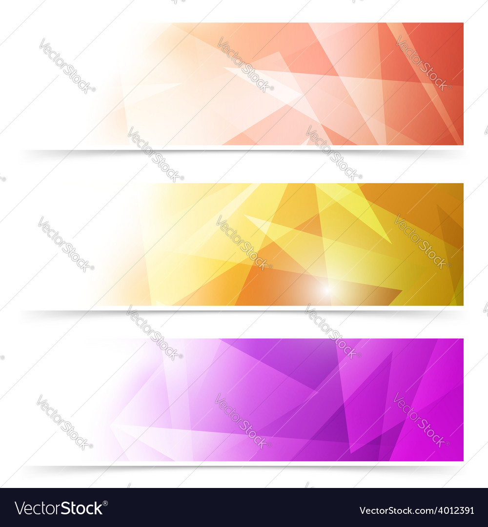 Modern triangular web banner collection vector | Price: 1 Credit (USD $1)