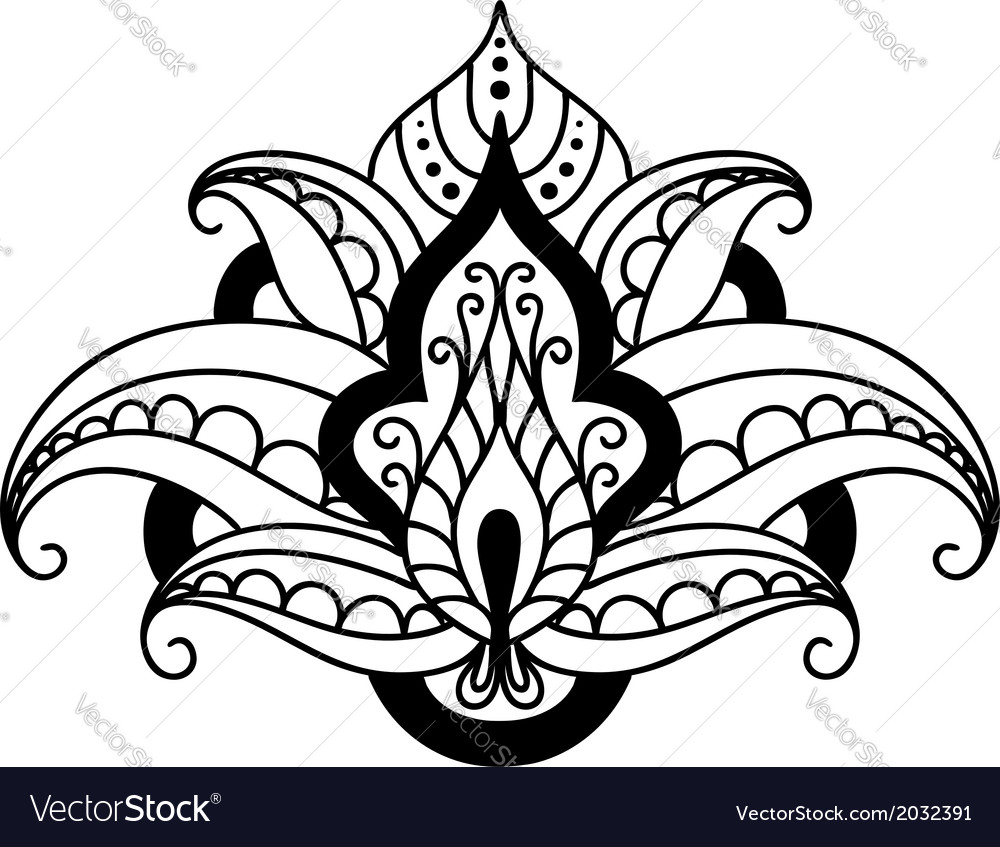 Persian floral design element vector | Price: 1 Credit (USD $1)