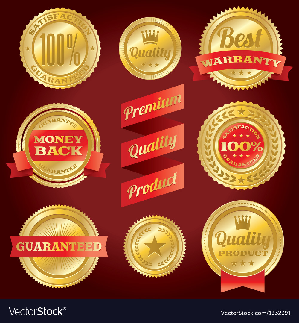 Satisfaction guarantee warranty badges and labels vector | Price: 1 Credit (USD $1)