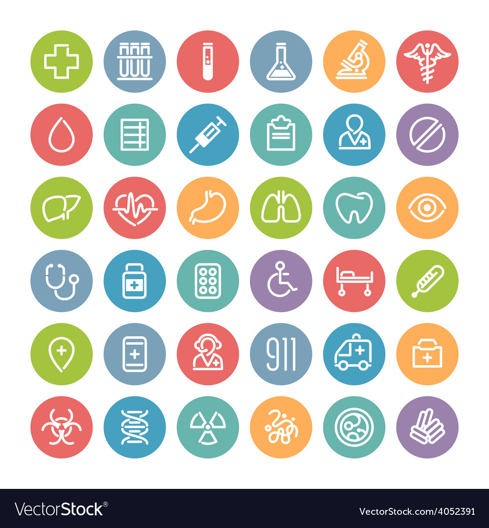 Set of flat round medical icons vector   Price: 1 Credit (USD $1)