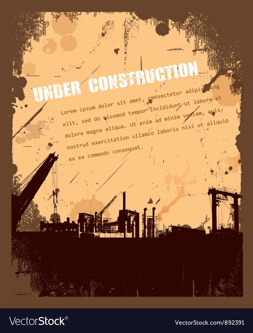 Vintage grunge under construction retro background vector | Price: 1 Credit (USD $1)