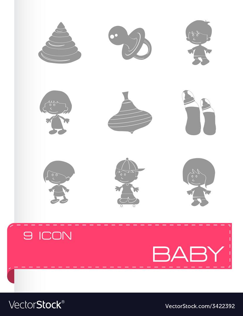Black baby icons set vector | Price: 1 Credit (USD $1)