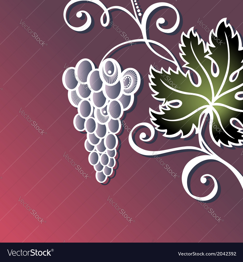 Colored floral background with grape vector | Price: 1 Credit (USD $1)