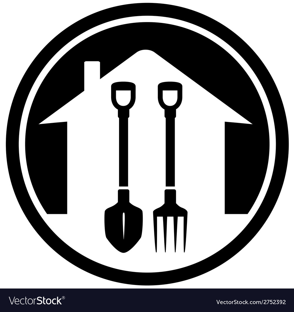 Garden landscaping icon with shovel and pitchfork vector | Price: 1 Credit (USD $1)