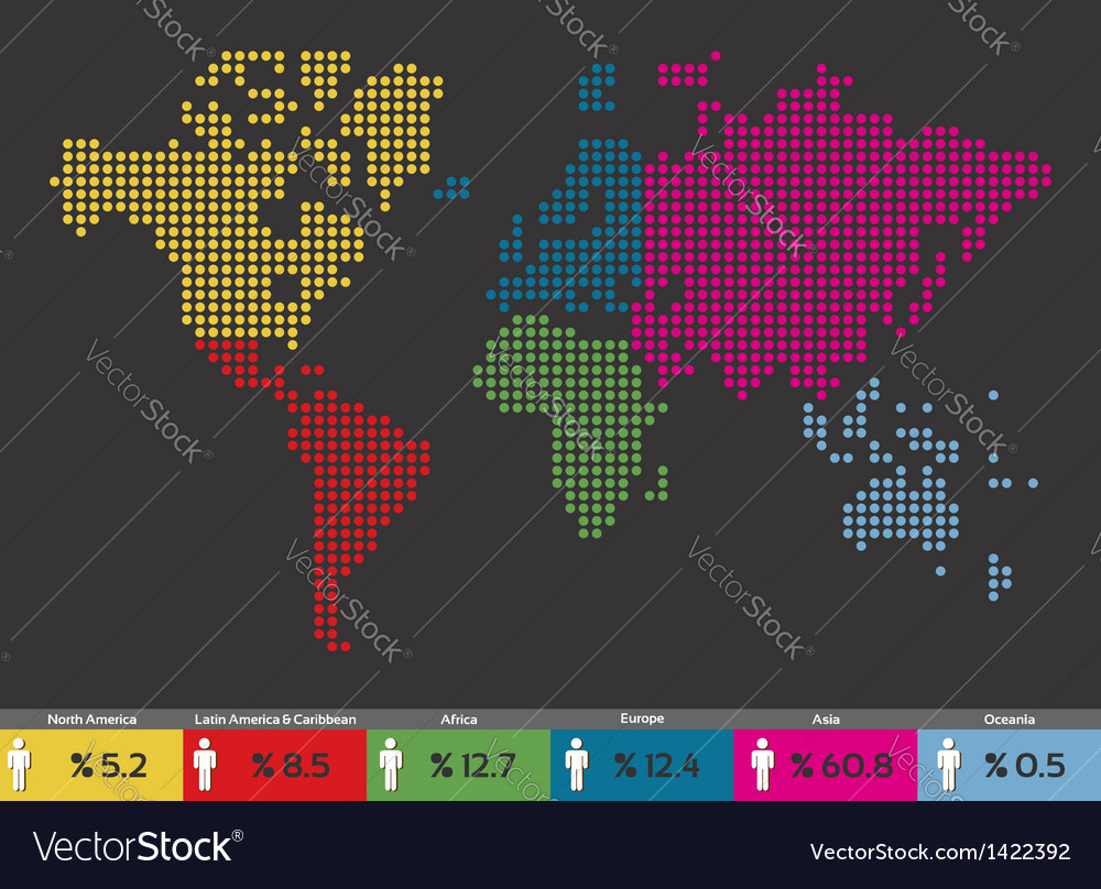 Global population world map vector | Price: 1 Credit (USD $1)