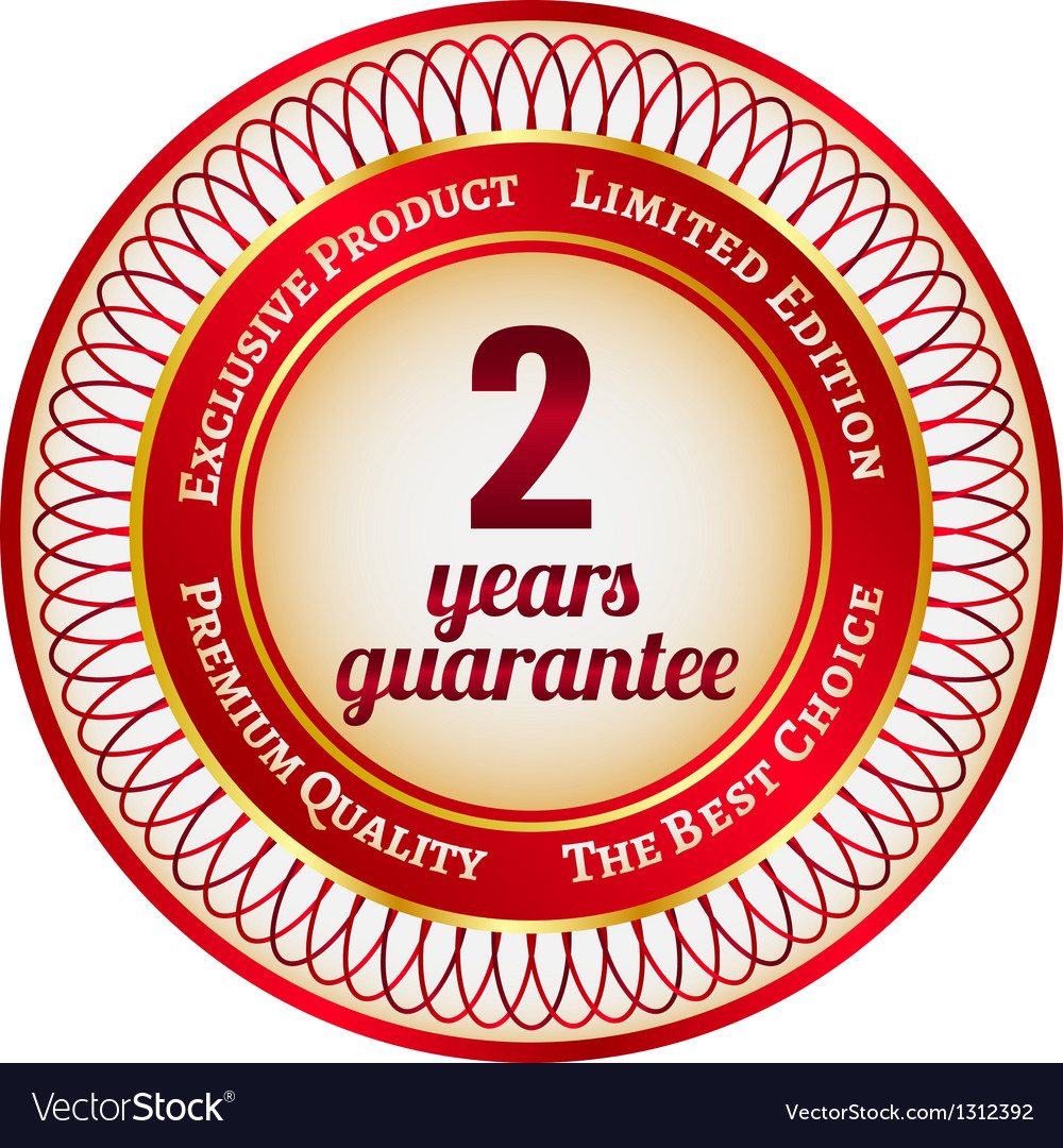 Label on 2 year guarantee vector | Price: 1 Credit (USD $1)