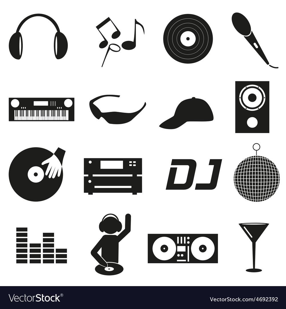 Music club dj black simple icons set eps10 vector | Price: 1 Credit (USD $1)
