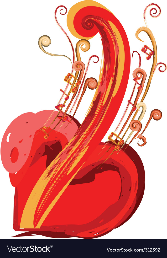 Musical heart vector | Price: 1 Credit (USD $1)