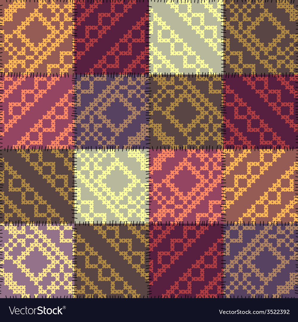 Patchwork pattern with the decorative embroidery vector | Price: 1 Credit (USD $1)