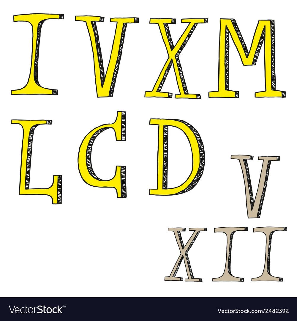 Roman numerals - doodles vector | Price: 1 Credit (USD $1)
