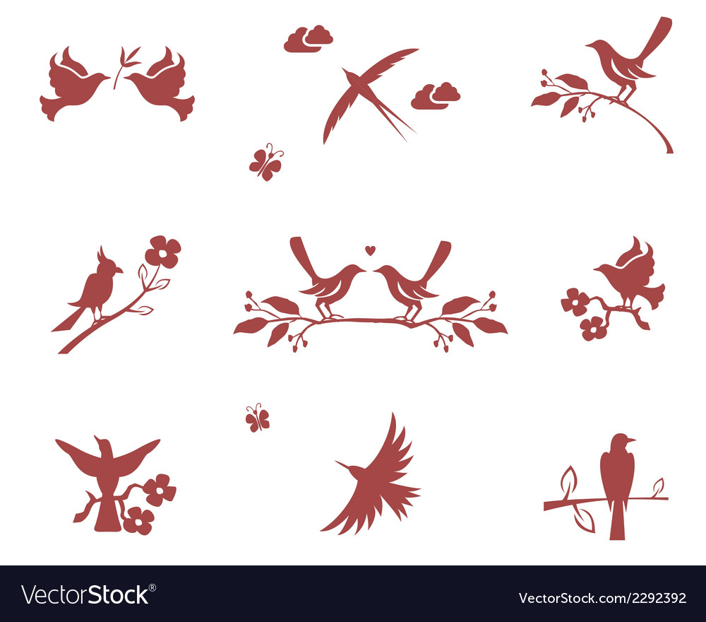 Silhouettes of birds on branches vector | Price: 1 Credit (USD $1)