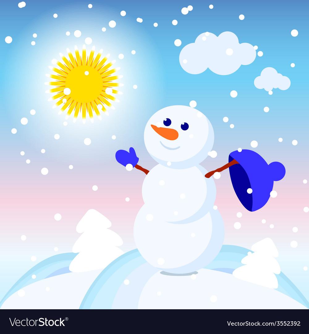 Snowman snow card sun design winter decoration vector | Price: 1 Credit (USD $1)