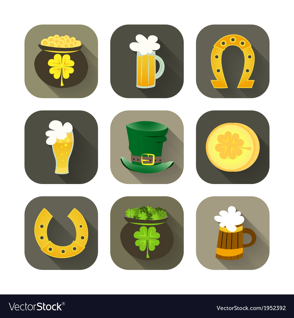 St patrick day icon set vector | Price: 1 Credit (USD $1)