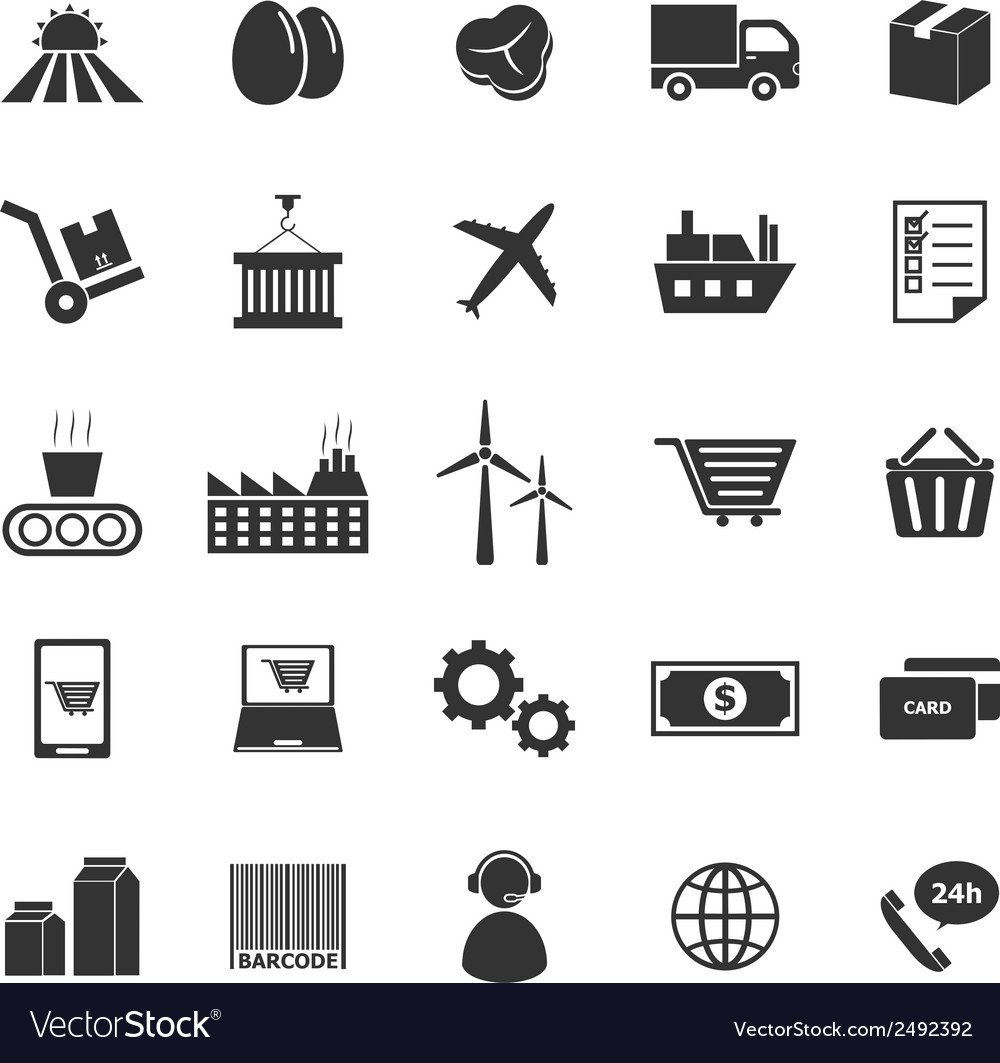 Supply chain icons on white background vector | Price: 1 Credit (USD $1)