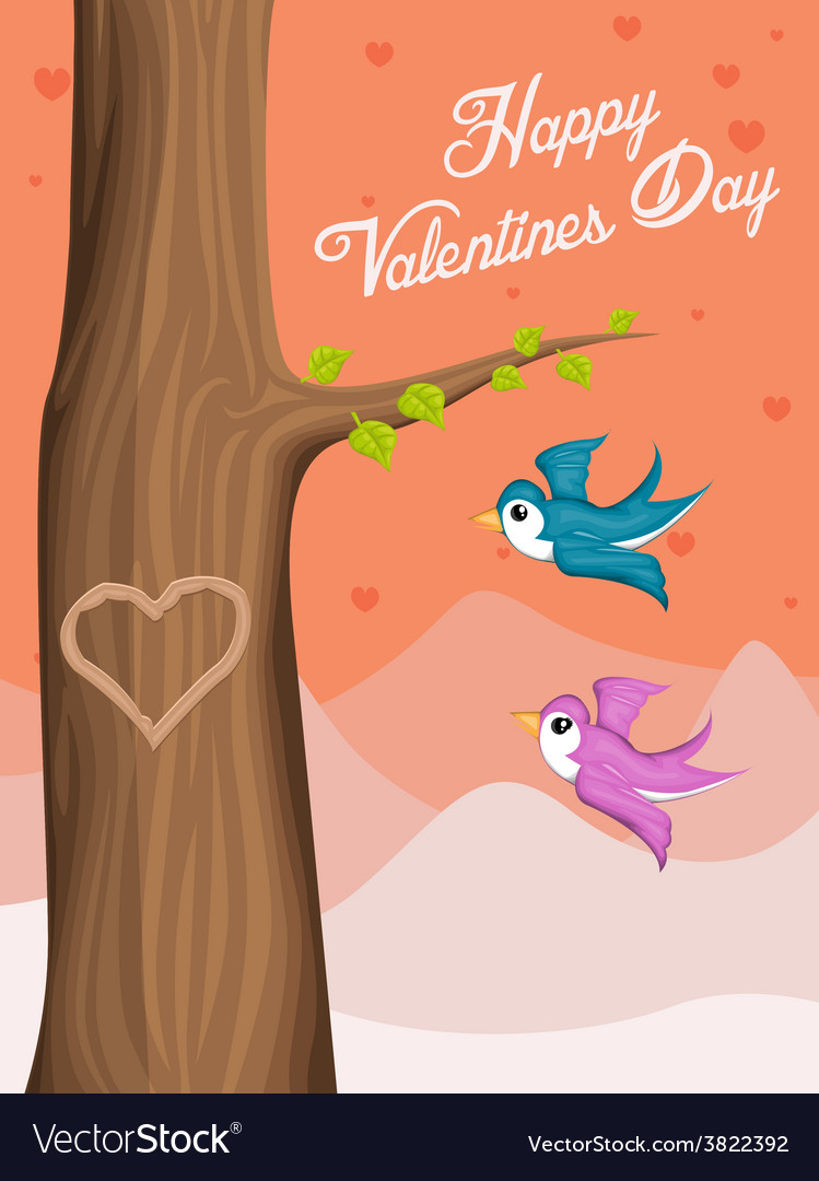 Valentine day background with flying love birds vector | Price: 1 Credit (USD $1)