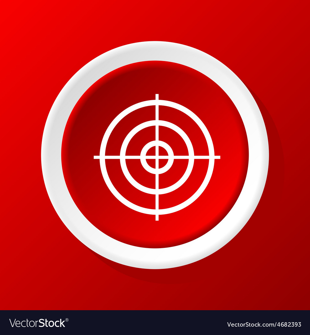 Aim icon on red vector | Price: 1 Credit (USD $1)