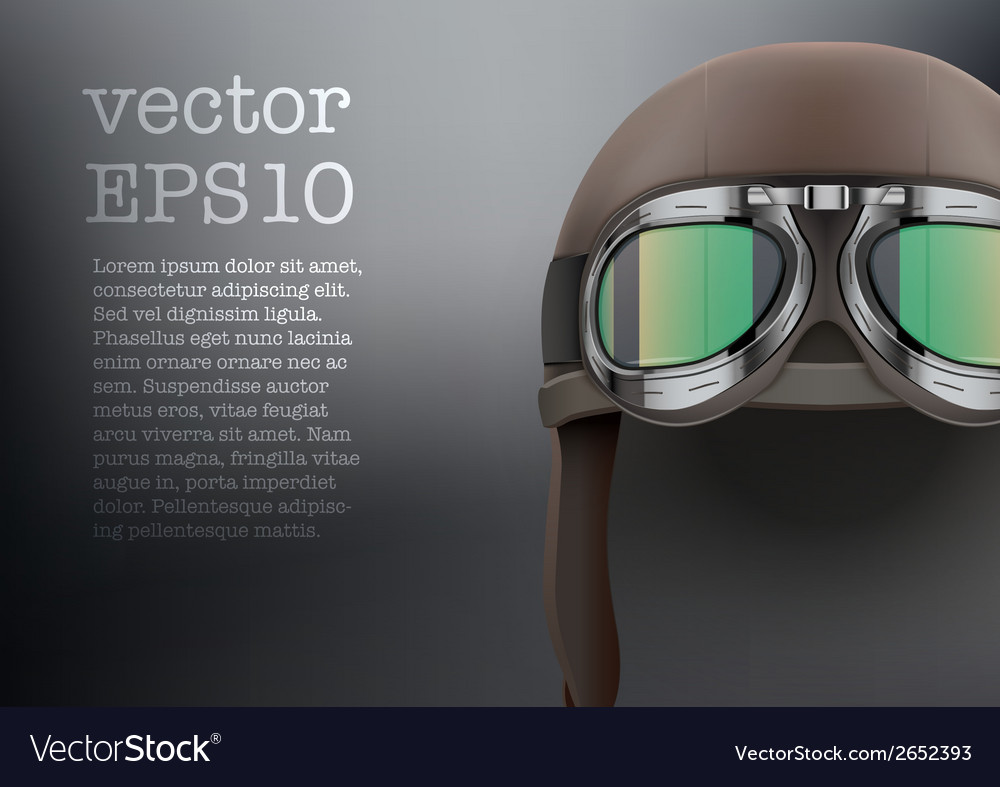 Background of retro aviator pilot helmet with vector | Price: 1 Credit (USD $1)