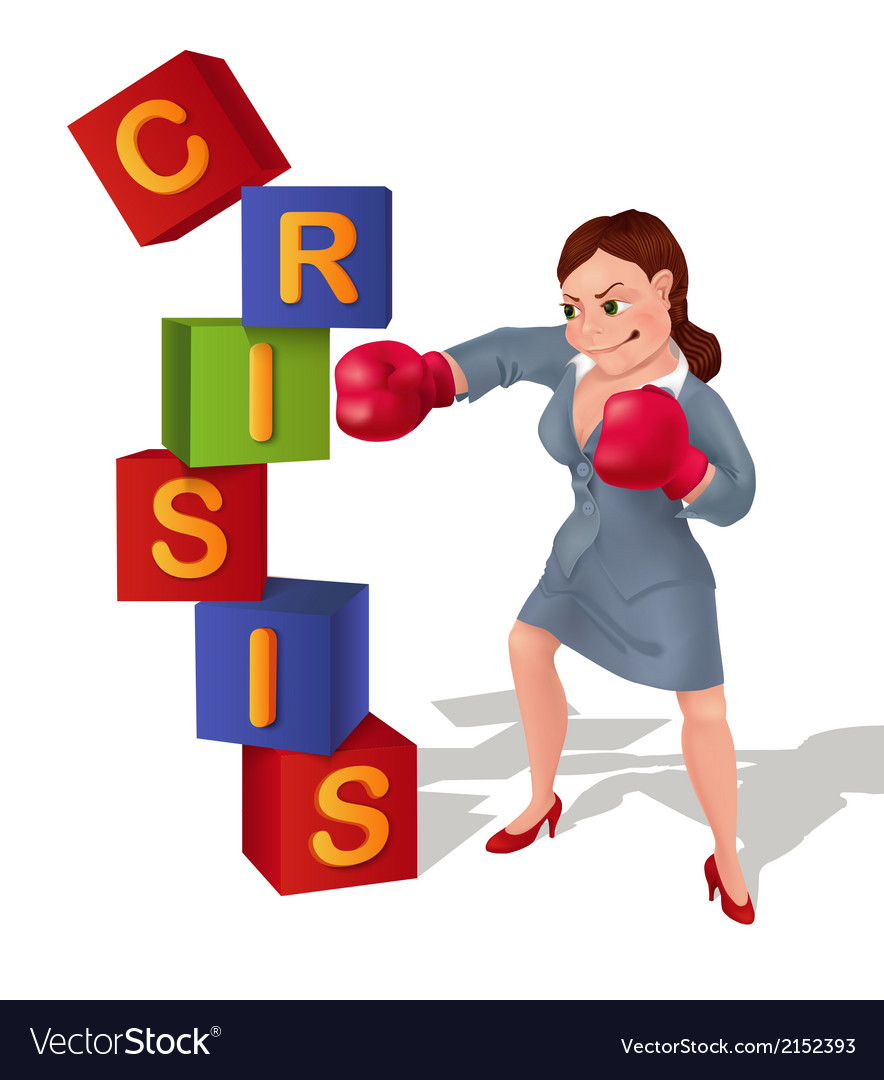 Businesswoman is prevailing over crisis vector | Price: 1 Credit (USD $1)