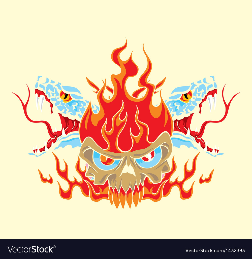Fire skull and snake vector | Price: 1 Credit (USD $1)