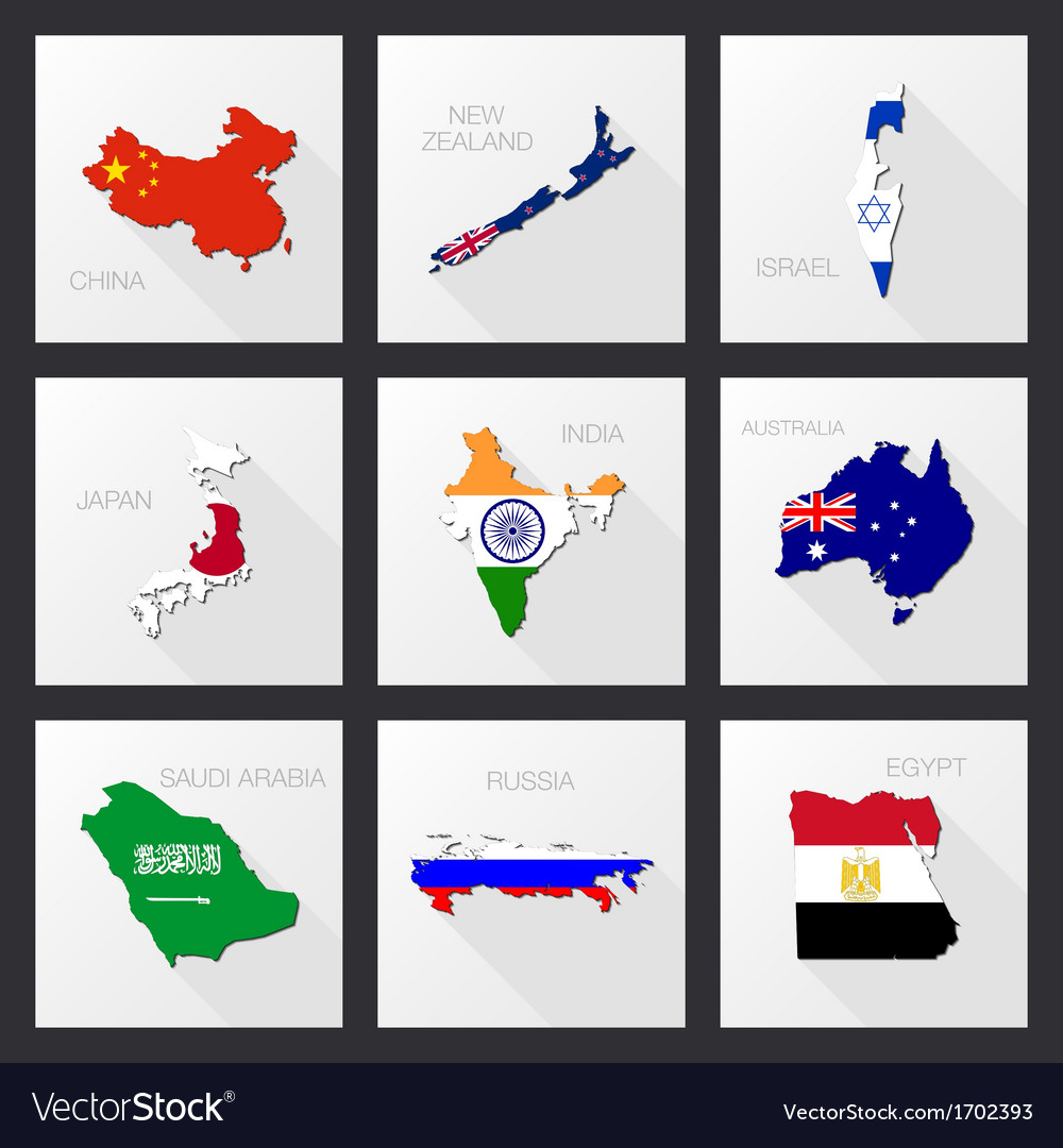 Flat icons - flags of world countries 03 vector | Price: 1 Credit (USD $1)