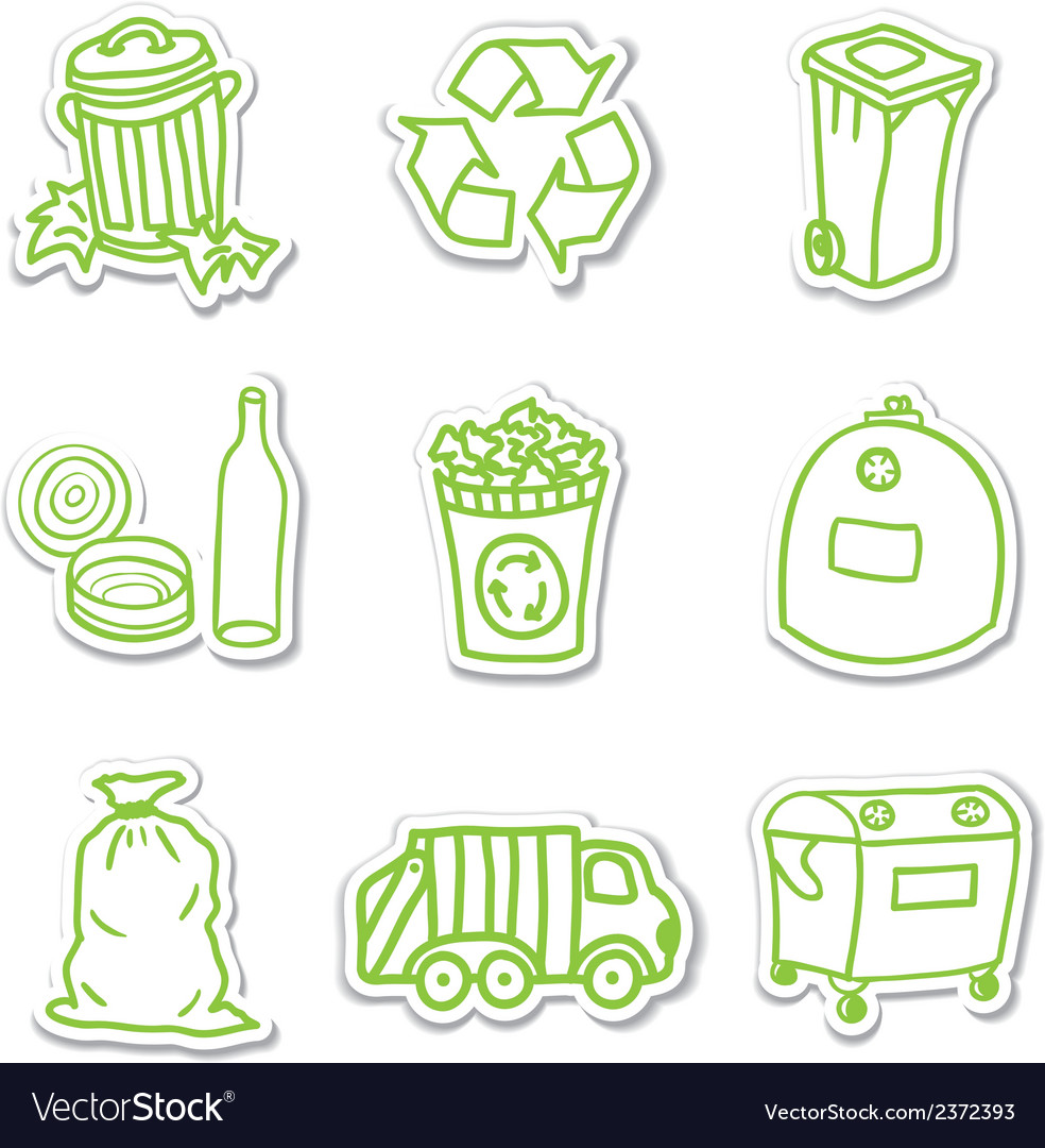 Garbage icon stickers vector | Price: 1 Credit (USD $1)