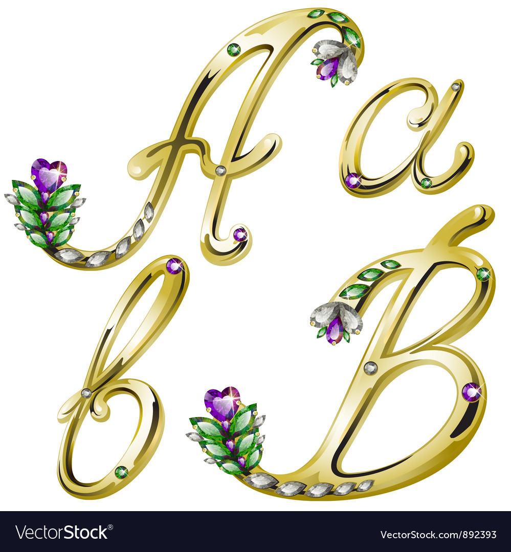 Gold alphabet with diamonds and gems letters a b vector | Price: 1 Credit (USD $1)