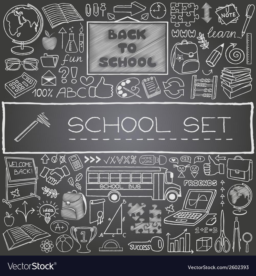 Hand drawn school icons vector   Price: 1 Credit (USD $1)