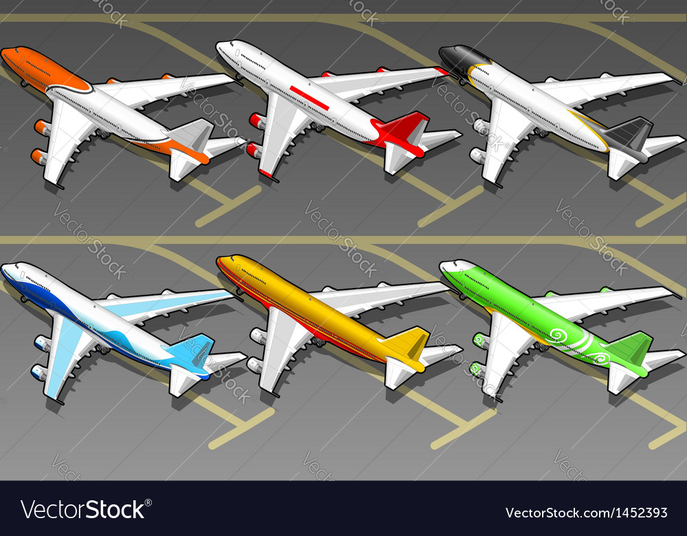Isometric airplanes in six livery in rear view vector | Price: 1 Credit (USD $1)