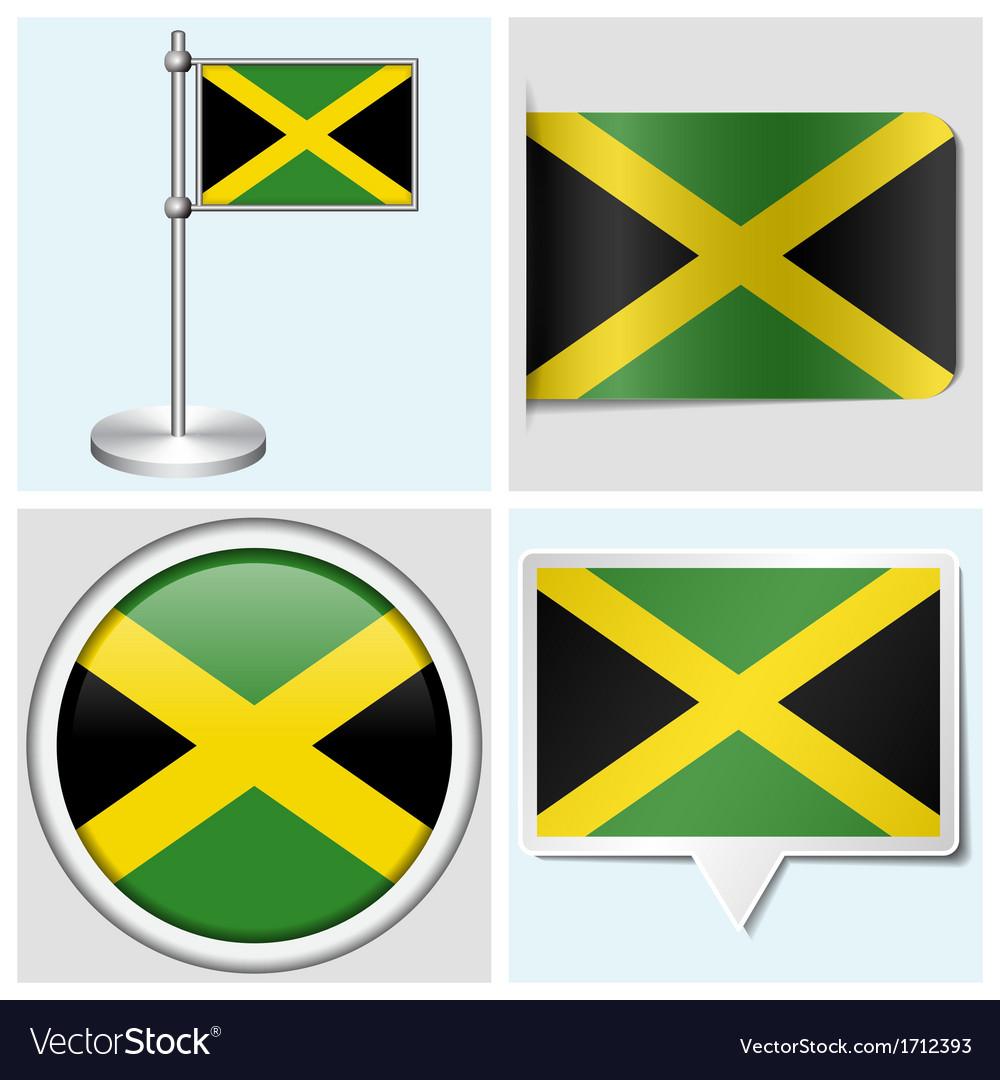 Jamaica flag - sticker button label flagstaff vector | Price: 1 Credit (USD $1)