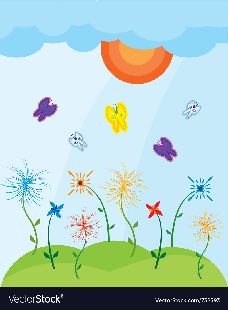 Landscape with butterflies vector | Price: 1 Credit (USD $1)