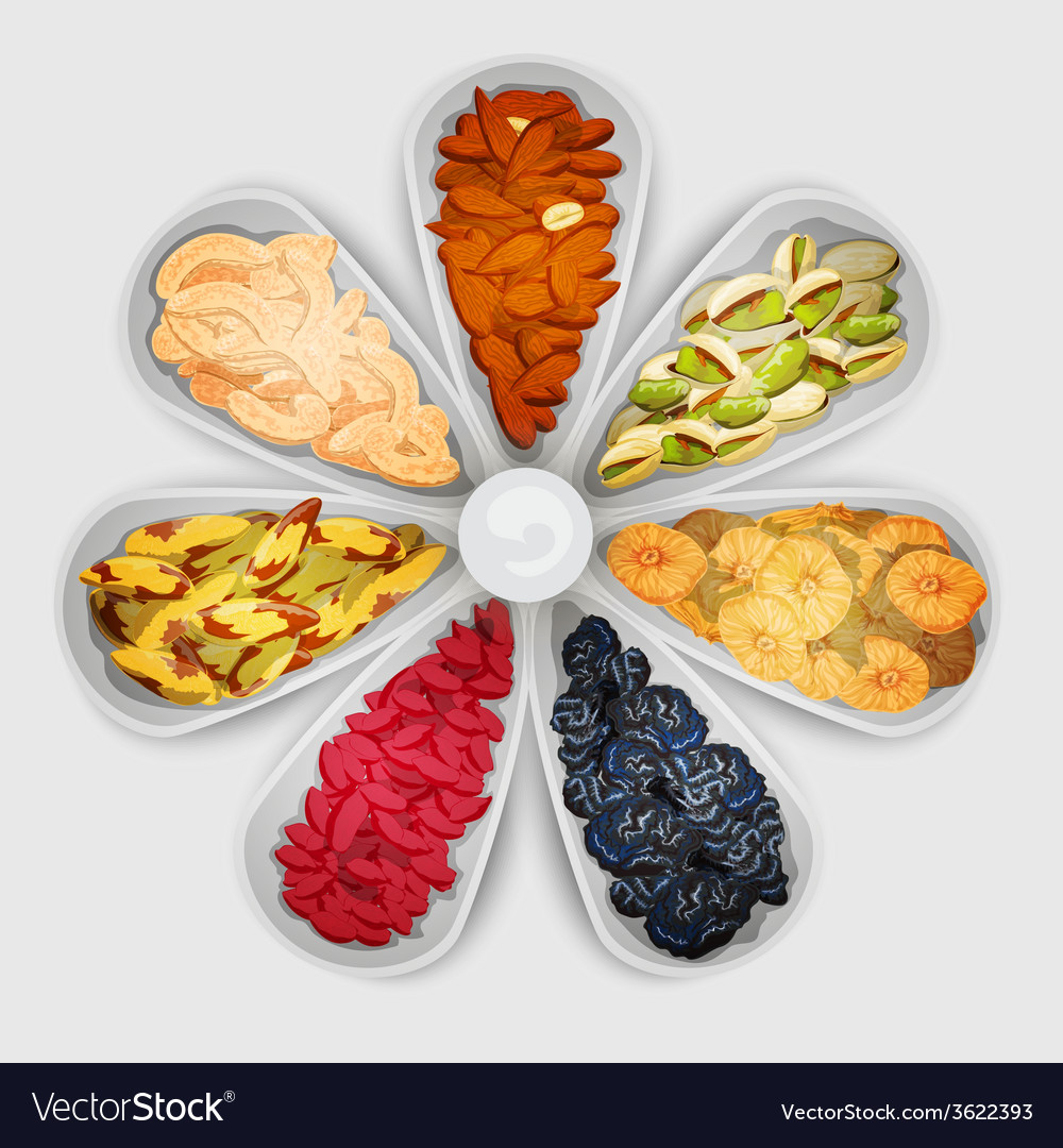Nuts assorted in bowls vector | Price: 1 Credit (USD $1)