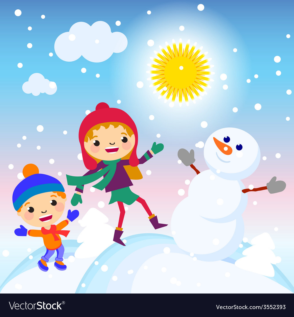 Snowman snow card sun design winter decoration vector | Price: 1 Credit (USD $1)