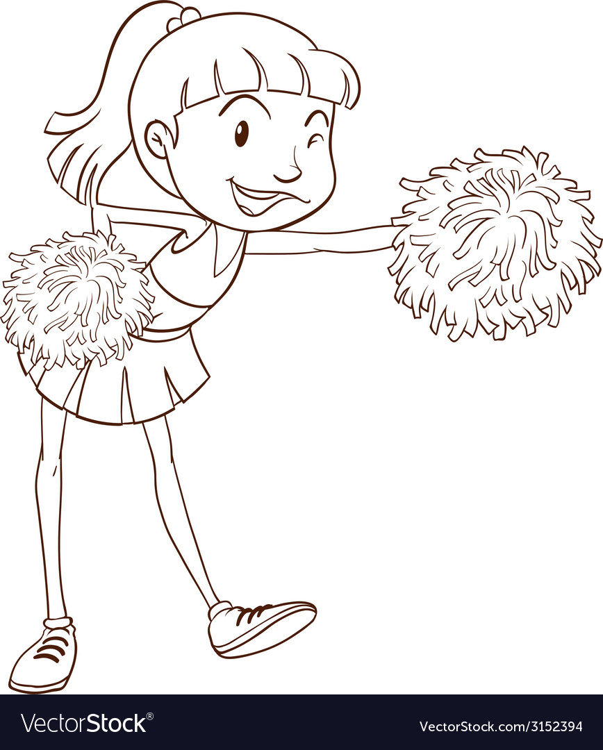 A plain sketch of a cheerer with pompoms vector | Price: 1 Credit (USD $1)