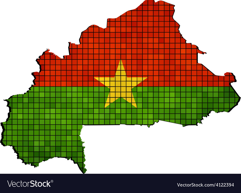 Burkina faso map with flag inside vector   Price: 1 Credit (USD $1)